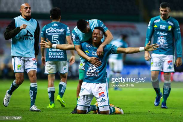 Yairo Moreno of Leon celebrates after scoring his team's second goal during the Final second leg match between Leon and Pumas UNAM as part of the...