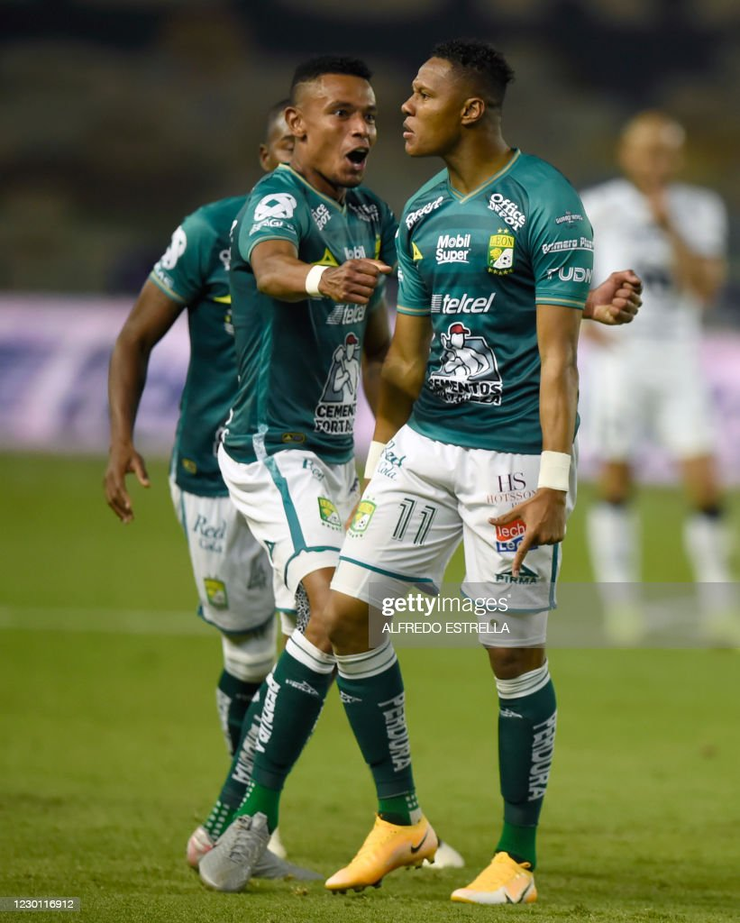 Yairo Moreno of Leon celebrates with teammates after scoring against...  News Photo - Getty Images