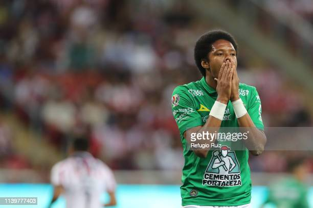 Yairo Moreno of Leon reacts during the 16th round match between Chivas and Leon as part of the Torneo Clausura 2019 Liga MX at Akron Stadium on April...