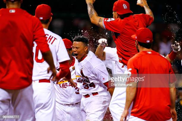 Yairo Munoz of the St Louis Cardinals celebrates after hitting a threerun walkoff home run against the Pittsburgh Pirates in the ninth inning at...