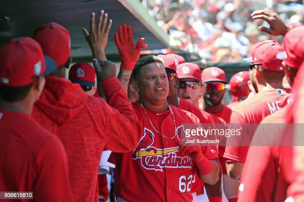 Yairo Munoz of the St Louis Cardinals celebrates his third inning home run against the Atlanta Braves with teammates during a spring training game at...