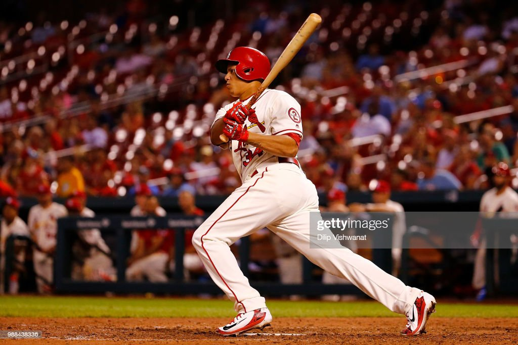 Yairo Munoz #34 of the St. Louis Cardinals hits an RBI double against the Atlanta Braves in the ninth inning at Busch Stadium on June 30, 2018 in St. Louis, Missouri.