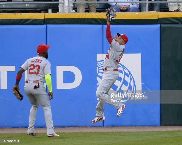 Yairo Munoz of the St Louis Cardinals makes a catch in the outfield against the Chicago White Sox on July 10 2018 at Guaranteed Rate Field in Chicago...