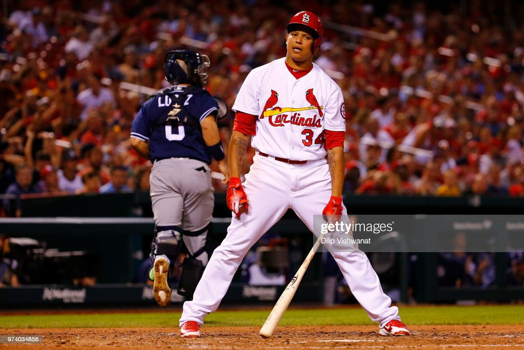 Yairo Munoz #34 of the St. Louis Cardinals reacts are striking out against the San Diego Padres in the sixth inning at Busch Stadium on June 13, 2018 in St. Louis, Missouri.