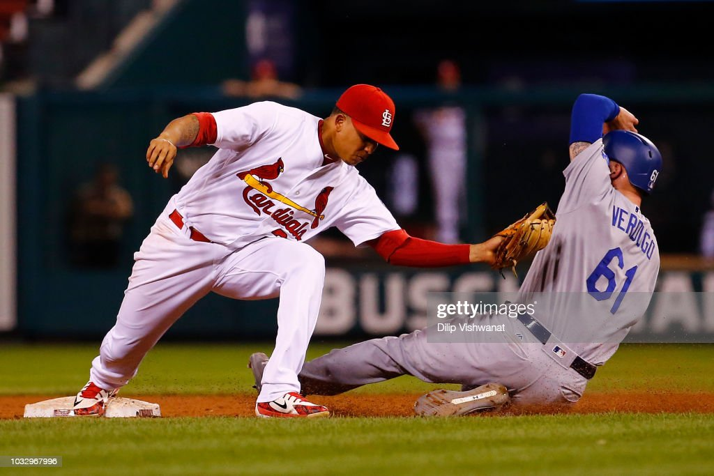 Yairo Munoz #34 of the St. Louis Cardinals tags out Alex Verdugo #61 of the Los Angeles Dodgers at second base in the eighth inning at Busch Stadium on September 13, 2018 in St. Louis, Missouri.