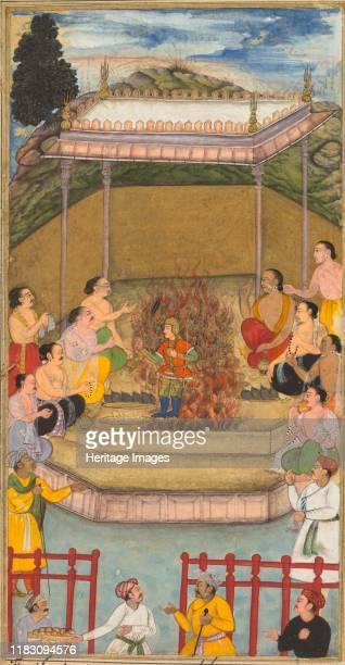 Yaja and Upayaja perform a sacrifice for the emergence of Dhrishtadyumna from the fire from Adiparva of the Razmnama adapted and translated into...