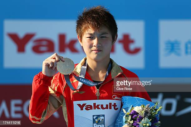 Yajie Si of China celebrates winning gold in the Women's 10m Platform Diving final on day six of the 15th FINA World Championships at Piscina...