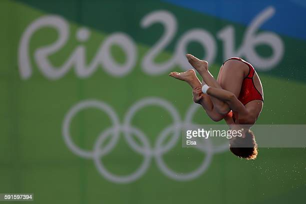 Yajie Si of China competes during the Women's 10m Platform Diving preliminaries on Day 12 of the Rio 2016 Olympic Games at Maria Lenk Aquatics Centre...