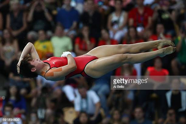 Yajie Si of China competes during the Women's 10m Platform final diving at the Maria Lenk Aquatics Centre on day 13 of the 2016 Rio Olympic Games on...