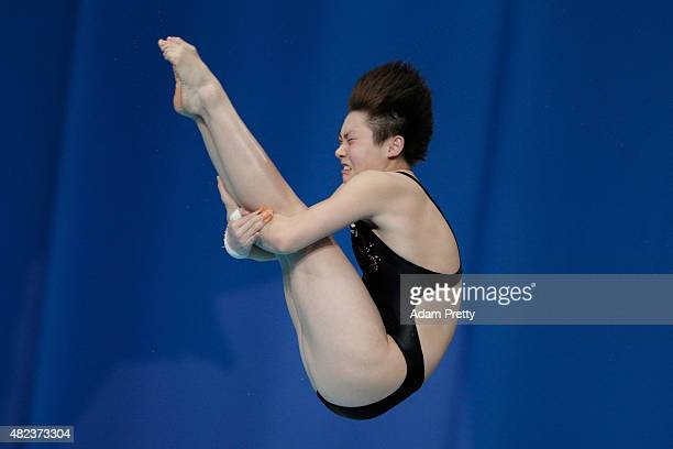 Yajie Si of China competes in the Women's 10m Platform Diving Final on day six of the 16th FINA World Championships at the Aquatics Palace on July 30...
