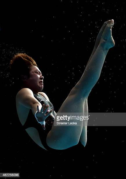 Yajie Si of China competes in the Women's 10m Platform Diving Semifinals on day five of the 16th FINA World Championships at the Aquatics Palace on...