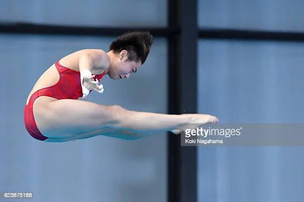 Yajie Si of China competes in the Women's 10m platform during the 10th Asian Swimming Championships 2016 at the Tokyo Tatsumi International Swimming...