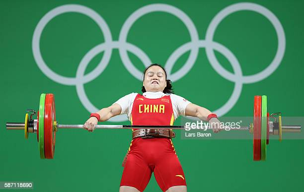 Yajun Li of China competes during the Women's 53kg Group A weightlifting contest on Day 2 of the Rio 2016 Olympic Games at Riocentro Pavilion 2 on...
