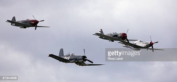 A Yak 3m Corsair F4U Lavochkin LA9 and a P51D Mustang make a low pass over the airfield during the 'Warbirds over Wanaka' International Airshow on...