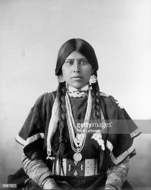 Yakima woman wearing a traditional deerskin wingdress The Yakima are Plateau Indians