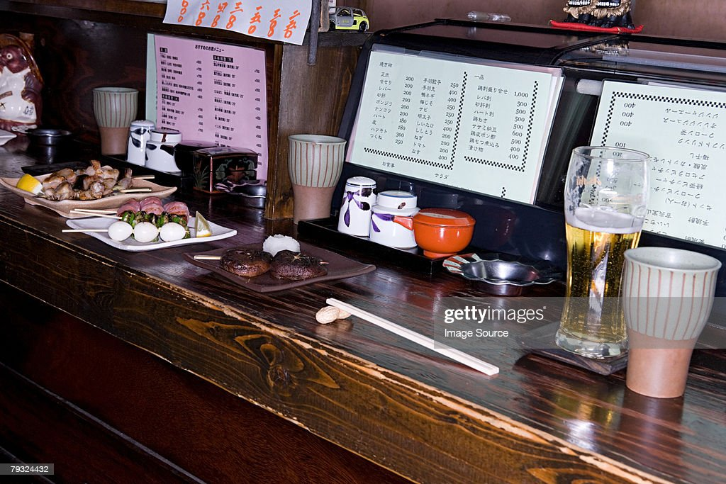 Yakitori on dishes in a restaurant : Stock Photo