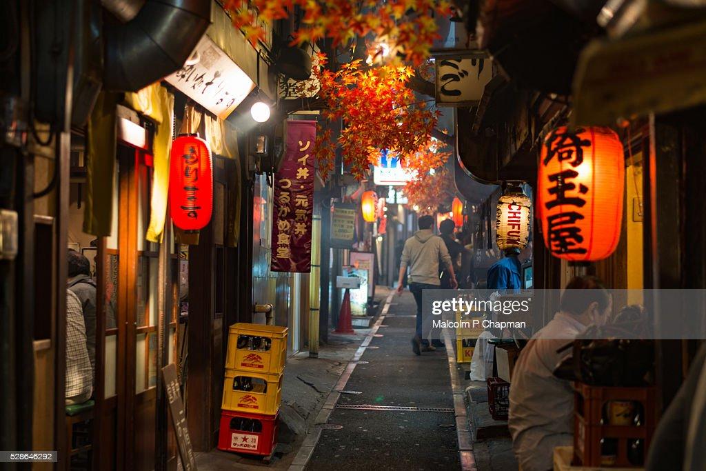 yakitori restaurants of omoide yokocho shinjuku tokyo japan ストック