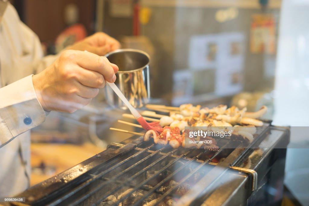 yakitori wagyu Beef squid grills : Stock-Foto