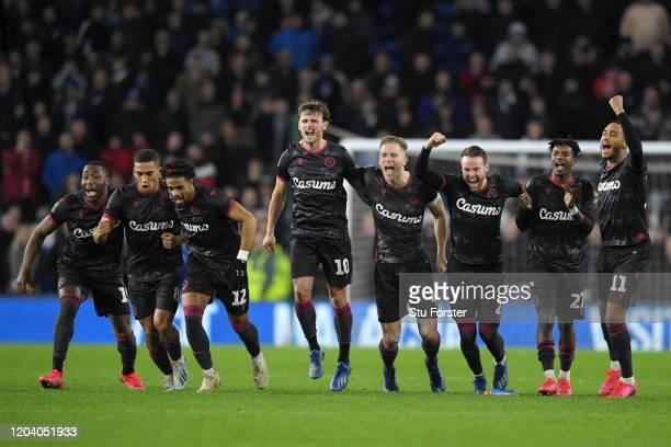 Yakou Meite, Andy Rinomhota, Garath McCleary, John Swift, Michael Morrison, Chris Gunter, Michael Olise and Jordan Obita of Reading FC celebrate...