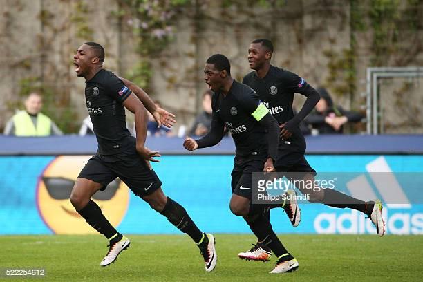 Yakou Meite of Paris Saint Germain celebrates after scoring a goal during the UEFA Youth League Final match between Paris Saint Germain and Chelsea...