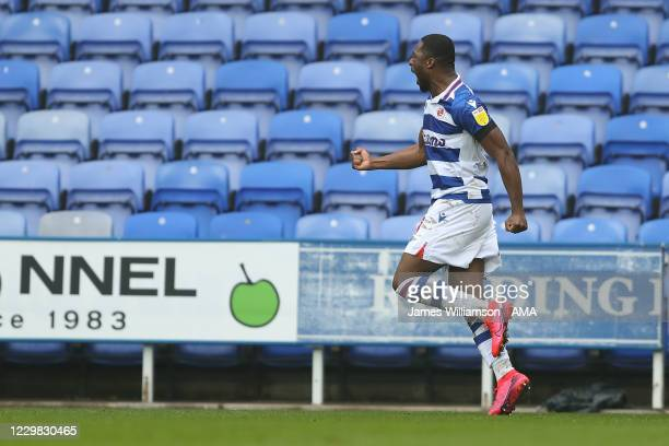 Yakou Meite of Reading celebrates after scoring a goal to make it 2-1 during the Sky Bet Championship match between Reading and Bristol City at...