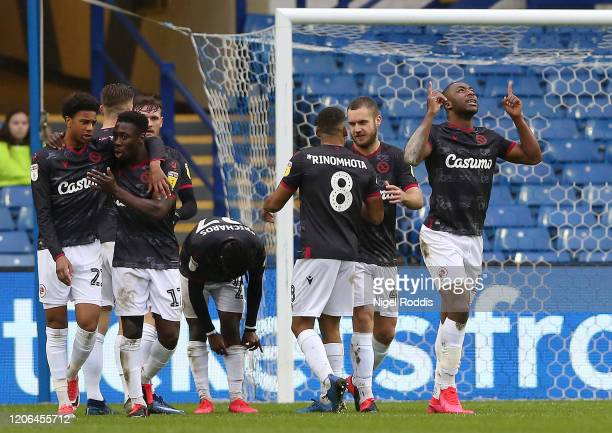 Yakou Meite of Reading FC celebrates after scoring his team's first goal during the Sky Bet Championship match between Sheffield Wednesday and...