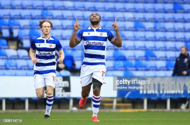 Yakou Meite of Reading FC celebrates after scoring their team's first goal during the Sky Bet Championship match between Reading and Queens Park...