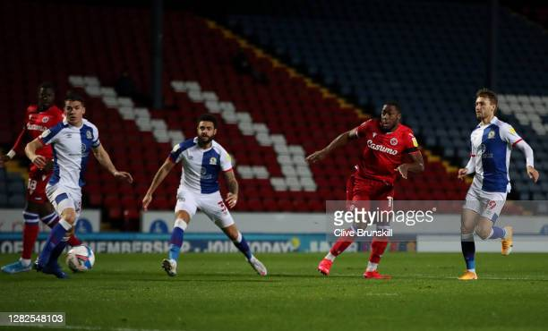 Yakou Meite of Reading FC scores his sides first goal during the Sky Bet Championship match between Blackburn Rovers and Reading at Ewood Park on...