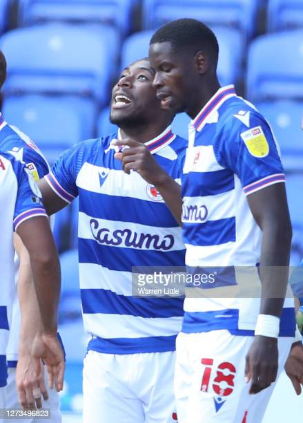 Yakou Meiute of Reading celebrates scoring the opening goal during the Sky Bet Championship match between Reading and Barnsley at Madejski Stadium on...