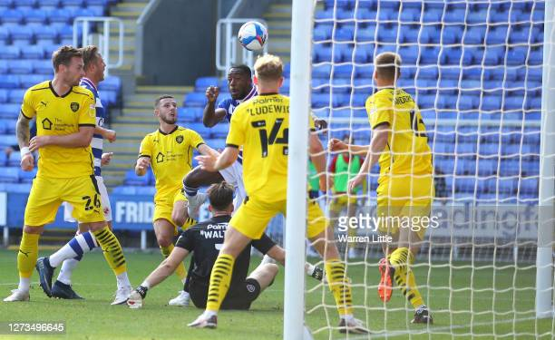 Yakou Meiute of Reading scores the opening goal during the Sky Bet Championship match between Reading and Barnsley at Madejski Stadium on September...