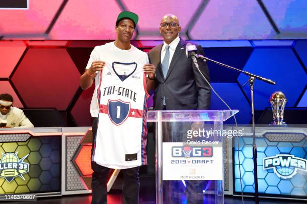 Yakouba Diawara poses with BIG3 Commissioner Clyde Drexler after being drafted at by the TriState in the first round during the BIG3 Draft at the...