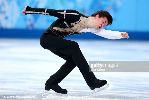 Yakov Godorozha of Ukraine competes in the Figure Skating Men's Short Program during the Sochi 2014 Winter Olympics at Iceberg Skating Palace on...