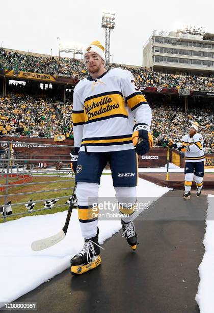 Yakov Trenin of the Nashville Predators walks back to the locker room after warmup prior to the 2020 NHL Winter Classic between the Nashville...
