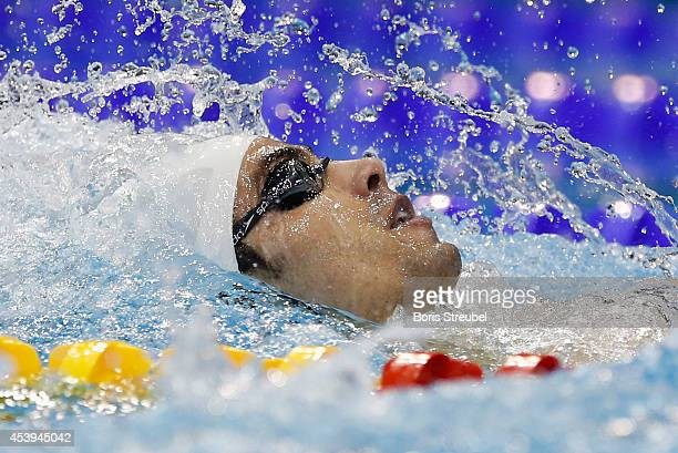 Yakov Yan Toumarkin of Israel competes in the men's 200m backstroke heats during day 10 of the 32nd LEN European Swimming Championships 2014 at...