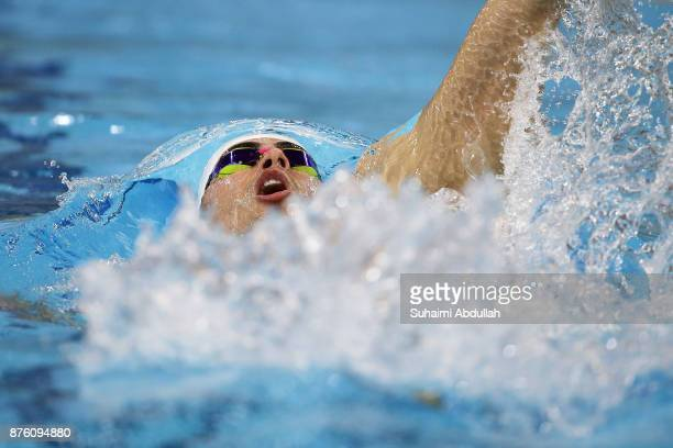 Yakov Yan Toumarkin of Israel competes in the men's 200m Individual medley heat during the FINA Swimming World Cup at OCBC Aquatic Centre on November...