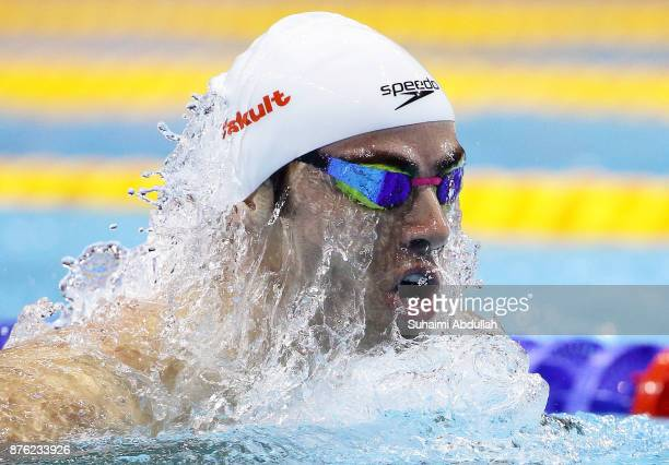 Yakov Yan Toumarkin of Israel competes in the men's 200m Individual Medley final during the FINA Swimming World Cup at OCBC Aquatic Centre on...