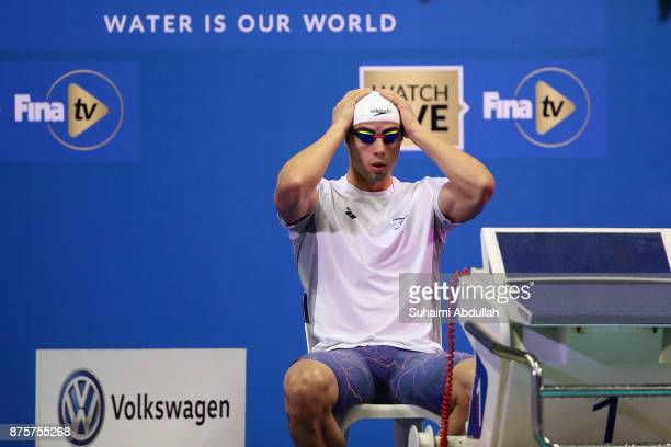 Yakov Yan Toumarkin of Israel prepares to compete in the men's 100m Individual Medley final during the FINA Swimming World Cup at OCBC Aquatic Centre...