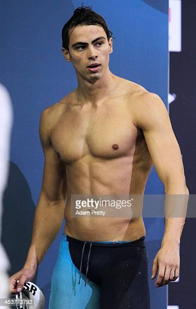 Yakov Yan Toumarkin of Israel swims the Men's 100m Backstroke heats at EuropaSportpark on August 18 2014 in Berlin Germany