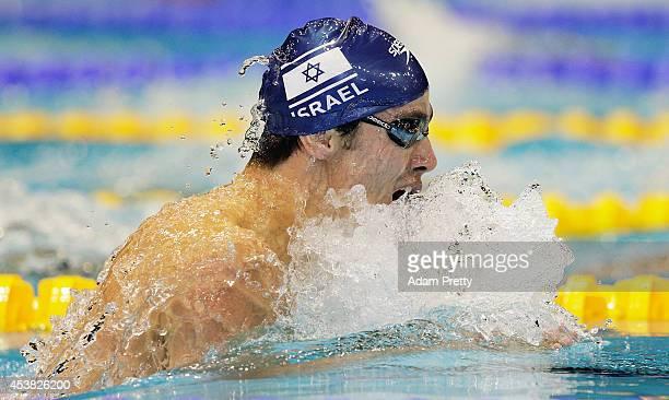 Yakov Yan Toumarkin swims the Men's 200m medley semi final during the 32nd LEN European Swimming Championships at EuropaSportpark on August 19 2014...