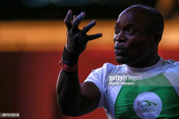 Yakubu Adesokan of Nigeria reacts during the Men's Up to 49Kg Group A Category as part of day 3 of the World Para Powerlifting Championship Mexico...