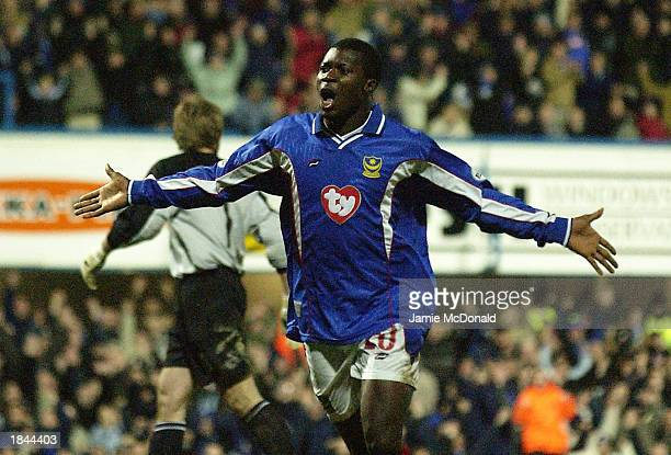 Yakubu Aiyegbeni celebrates the first goal during the Nationwide Division One match between Portsmouth and Norwich City at Fratton Park in Portsmouth...