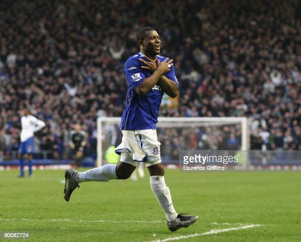 3b5bae03420 Yakubu Aiyegbeni of Everton celebrates scoring his team s third goal during  the Barclays Premier League match. Everton v Portsmouth ...