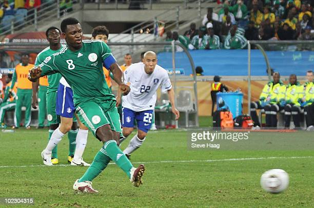 Yakubu Ayegbeni of Nigeria scores from the penalty spot during the 2010 FIFA World Cup South Africa Group B match between Nigeria and South Korea at...