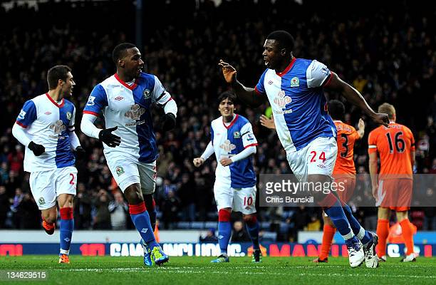 Yakubu of Blackburn Rovers celebrates after scoring the opening goal during the Barclays Premier League match between Blackburn Rovers and Swansea...