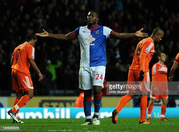 Yakubu of Blackburn Rovers celebrates scoring his fourth goal during the Barclays Premier League match between Blackburn Rovers and Swansea City at...