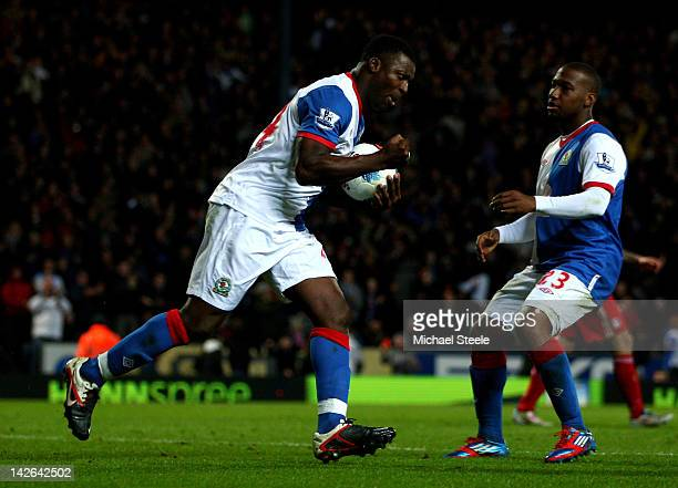 Yakubu of Blackburn Rovers celebrates scoring his team's second goal during the Barclays Premier League match between Blackburn Rovers and Liverpool...