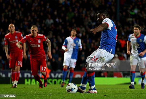 Yakubu of Blackburn Rovers scores his team's second goal from a penalty during the Barclays Premier League match between Blackburn Rovers and...