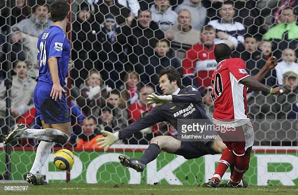Yakubu of Middlesbrough scores a goal during the Barclays Premiership match between Middlesbrough and Chelsea at the Riverside Stadium on February 11...