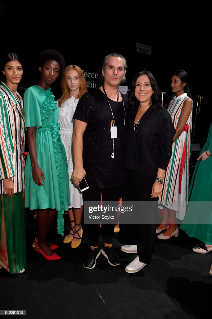 Yakup Bicer, Mehtap Elaidi and models pose backstage ahead of the Mehtap Elaidi show during Mercedes-Benz Istanbul Fashion Week September 2017 at Zorlu Center on September 13, 2017 in Istanbul, Turkey.