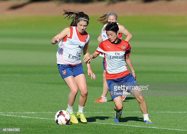 Yakuri Kinga and Carla Humphrey of Arsenal Ladies during their training session at London Colney on July 3 2014 in St Albans England